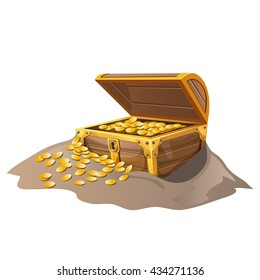 Wooden treasure chest with gold coins buried in the sand. Vector.