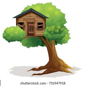Wooden treehouse on the tree illustration