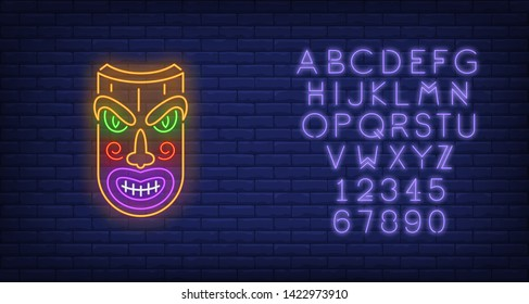 Wooden tribal mask neon sign. Tiki idol, ancient culture design. Night bright neon sign, colorful billboard, light banner. Vector illustration in neon style.