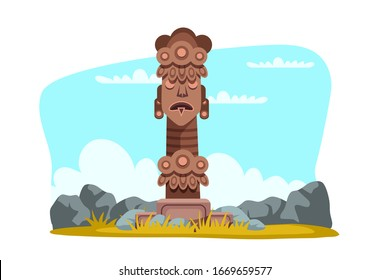 Wooden tribal totem god religious symbol among stones. Ancient culture. Pagan civilization idol. Indigenous sculpture. African tribe ritual object. Natural landscape. Vector illustration