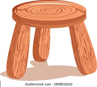 wooden tripod. Three legged stool. wooden chair. Vector image isolated on white background