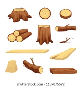 Wooden Trunk Materials Set Parts Elements for Wood Industry. Vector illustration of Chopped Firewood and Natural Timber