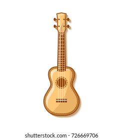 Wooden ukulele with traditional ornaments. Hawaiian folk musical instrument on white background. Vector illustration.