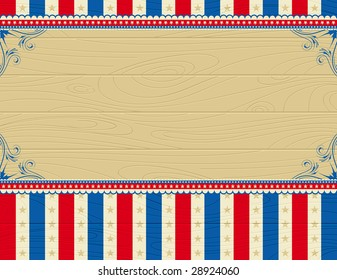 wooden usa background with stars and  decorative frames