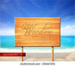 Wooden vector sign with beautiful summer calling background