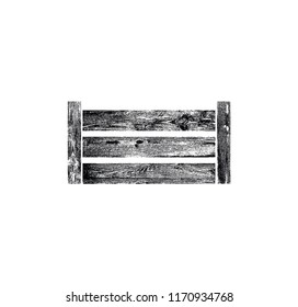 Wooden Vegetable Box. Grunge silhouette of Crate. Can be yused like icon, logo or other design element in your works. Vector illustration.