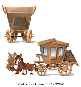 Wooden vehicle pulled by two horses. Vector.