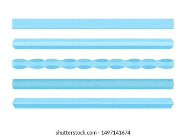 wooden vertical lath different blue pastel soft colors isolated on white background, wooden slat poles blue pastel color, lath wood vertical, wood slat posts, set of wood slats plank, lumber wood past
