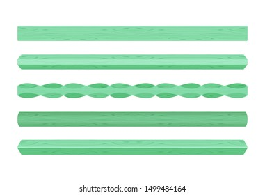 wooden vertical lath different green pastel soft colors isolated on white background, wooden slat poles green pastel color, lath wood vertical, wood slat posts, set wood slats, lumber wood pastel