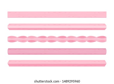 wooden vertical lath different pink pastel soft colors isolated on white background, wooden slat poles pink pastel color, lath wood vertical, wood slat posts, set of wood slats plank, lumber wood past