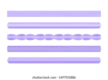 wooden vertical lath different purple pastel soft colors isolated on white background, wooden slat poles purple pastel color, lath wood vertical, wood slat posts, set wood slats, lumber wood pastel