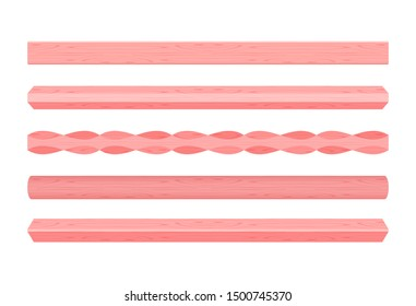 wooden vertical lath different red pastel soft colors isolated on white background, wooden slat pole red pastel color, lath wood vertical, wood slat posts, set wood slat plank, lumber wood pink pastel