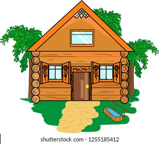 Wooden village house with grass and greenery in round frame. Vector.