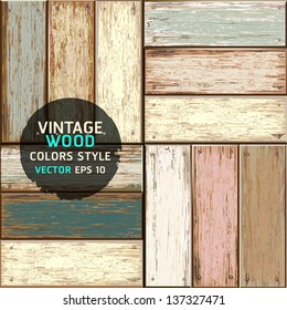 Wooden vintage color seamless texture background. vector illustration.