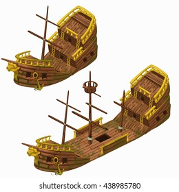 Wooden vintage ship new and broken isolated on a white background. Vector illustration.