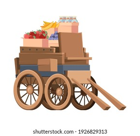 Wooden wagon with products. Old style carriage farm vehicles with big wheels garish vector isolated ancient transport picture