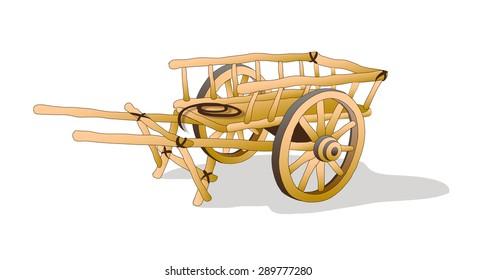 wooden. wagon. vector