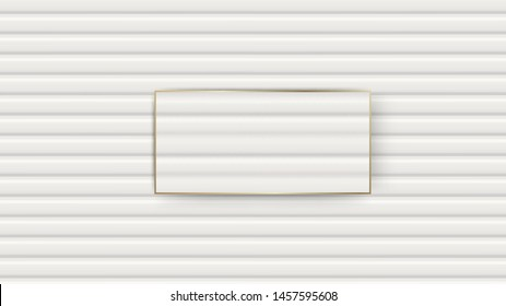 Wooden walls white texture with empty golden frame for text. Vector illustration.