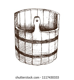 Wooden water barrel, basin for Russian bath for body hygiene. Set of accessories for bath, sauna. Hand drawing in sketch style. Isolated object on white background.
