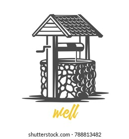Wooden water well. Black and white vector object.