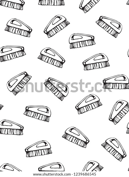 Wooden Wet Scrubber Comb Boot Clear Stock Vector (Royalty Free