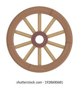 Wooden wheel cartoon vector icon.Cartoon vector illustration wagon. Isolated illustration of wooden wheel of wagon icon on white background.