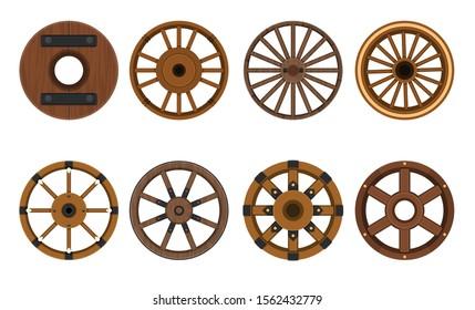 Wooden wheel vector cartoon set icon.Vector illustration cart of wheel. Isolated cartoon icon cartwheel for wagon on white background .