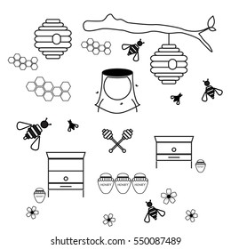 Wooden and wild beehive simple set of countour icons for honey business