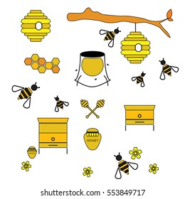 Wooden and wild beehive simple set of contour icons for honey business