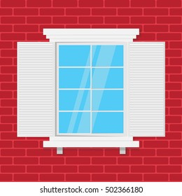 wooden window and brick wall. vector illustration