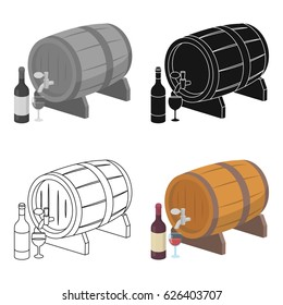 Wooden wine barrel icon in cartoon style isolated on white background. France country symbol stock vector illustration.