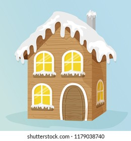 Wooden winter house with perspective. Game design