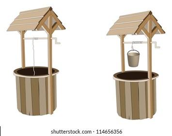 Wooden wishing wells