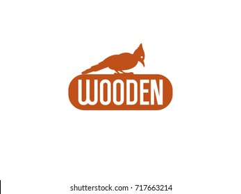 Wooden, woodpecker vector logo