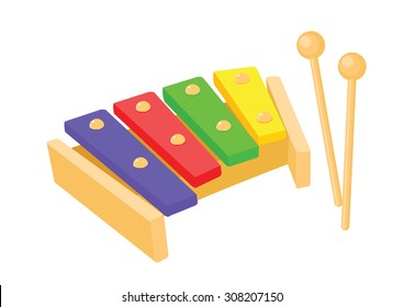 wooden xylophone toy vector