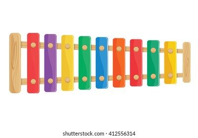wooden xylophone toy vector illustration. percussion isolated on a white background