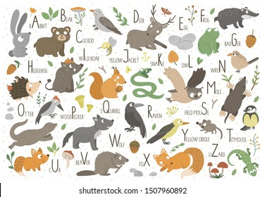 Woodland alphabet for children. Cute flat ABC with forest animals. Horizontal layout funny poster for teaching reading on white background