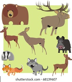 Woodland animal cartoons isolated on light green background color vector illustration