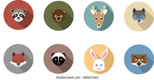 Woodland animal flat, long shadow icons featuring a raccoon, bear, deer, wolf, fox, skunk, rabbit. and owl.