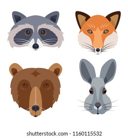 Woodland animal heads icons set. Flat vector illustration including bear, rabbit, fox and racoon