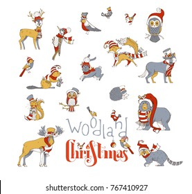 Woodland Animals Christmas Set Vector Of Forest Dressed In Santa Hat And Scarf
