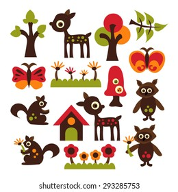 Woodland animals. Cute vector. Deer, squirrel, butterfly, and flowers.