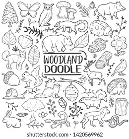 Woodland Animals Forest Traditional Doodle Icons Sketch Hand Made Design Vector