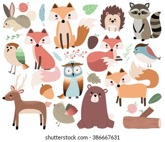 Woodland Animals Isolated Vector Set