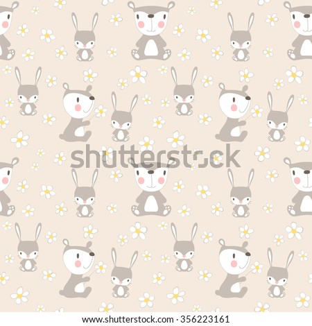Woodland animals seamless pattern in childish cartoon style. Cute little rabbit, bear and chamomile flowers. Vector pattern can be used for wallpaper, ...