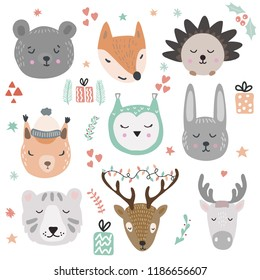 Woodland animals vector illustration. Cute and funny animal faces and winter holidays design elements