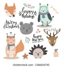Woodland animals vector illustration. Set of christmas and winter holidays lettering and design elements and cute animals in winter clothes