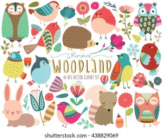 Woodland Animals and Whimsical Design Elements Vector