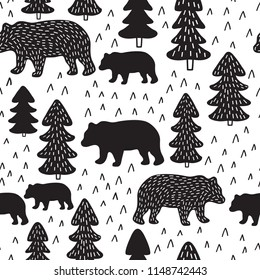 Woodland Bears Seamless Pattern Repeating Vector Illustration - Surface Pattern Design Fabric, Textile - Outdoor, Forest, Rustic Theme