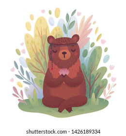 Woodland Boho character -  cute meditating bear sitting in the forest. Vector illustration.